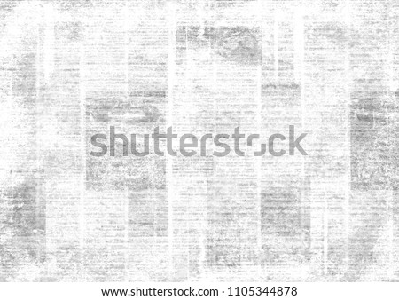 Old grunge newspaper collage horizontal texture. Unreadable vintage news paper pattern. Scratched paper textured page. Gray white newsprint background.