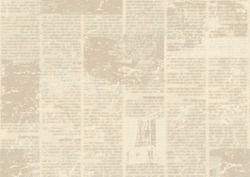 Old grunge newspaper paper textured background. Blurred vintage newspapers texture background. Blur unreadable aged news horizontal page with place for text, images. Sepia brown collage.