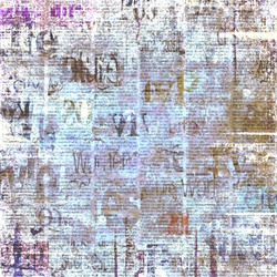 Old grunge newspaper paper textured square background. Vintage newspaper pattern. Newsprint typed sheet. Unreadable aged page. Colorful collage news pages background. Art rough urban style.