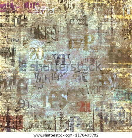 Old grunge newspaper paper textured square background. Vintage newspaper texture. Newsprint typed sheet. Unreadable aged page. Colorful collage news pages background. Art rough urban style.