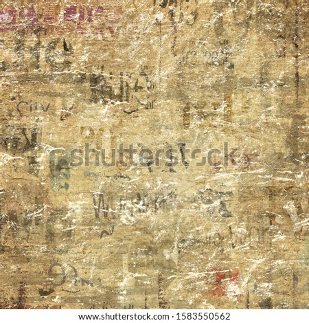 Old grunge newspaper paper textured square background. Vintage newspapers texture. Newsprint typed sheet. Unreadable aged page. Colorful news collage. Rough urban style. Mixed media art.