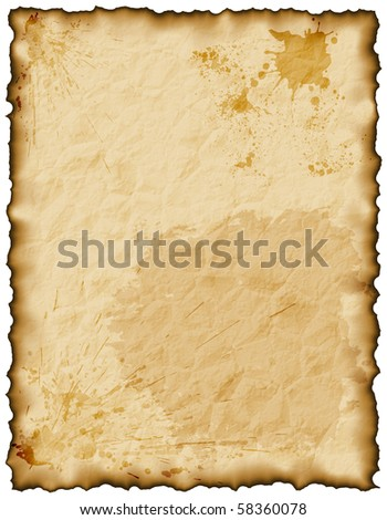 Old grunge paper page with burnt edges on white