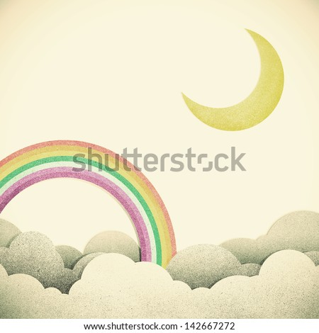 Old Grunge paper texture moon and rainbow on vintage tone  background