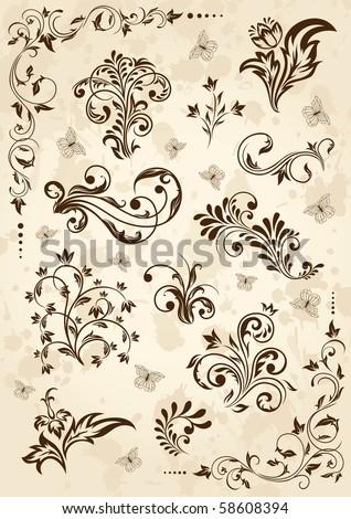 Old grunge paper with floral elements, illustration #58608394