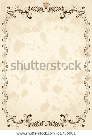 Old grunge paper with floral elements, illustration