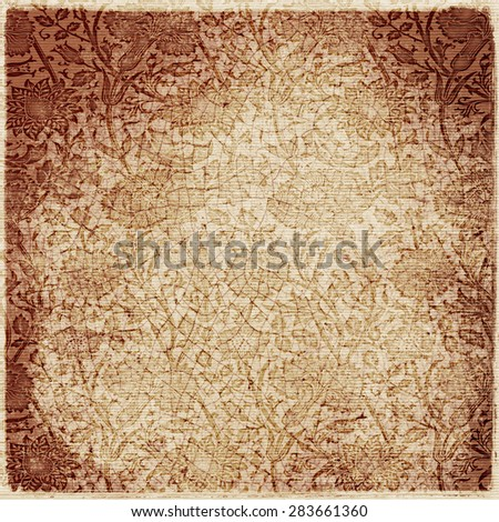 old grunge paper with flowers in victorian style, luxury paper background for your message
