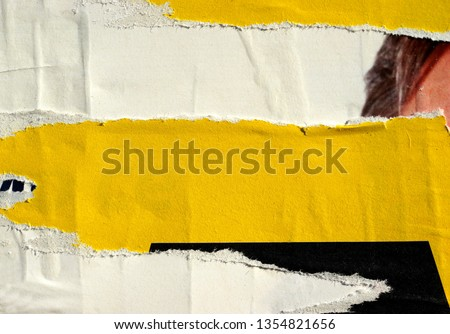 Old grunge ripped torn vintage collage street blank posters creased crumpled paper surface placard texture background backdrop empty space for text