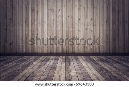 old grunge room with wooden planks floor and walls background