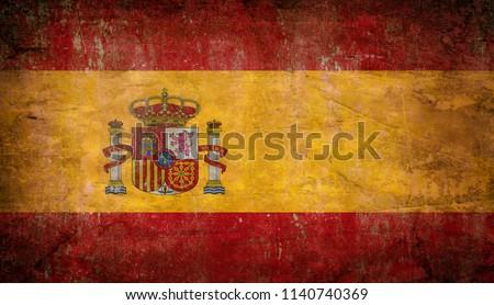 Old grunge Spain flag #1140740369