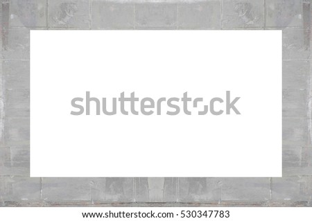 Old Grunge Weathered Peeled Painted Plaster Stucco Wall Frame With Abstract Antique Cracked Scratched Texture Retro Pattern. Empty Space For Image Or Text. Rectangle horizontal 3:2 Aspect Ratio Banner #530347783