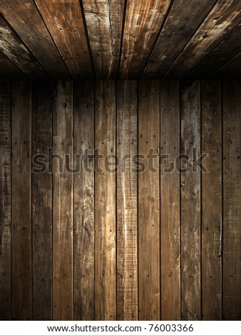 Old Grunge wood wall and ceiling in the room