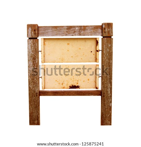 Old grunge Wooden sign on white background