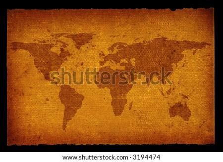 old grunge world map isolated on black background
