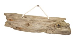 old grungy antique wooden plank of driftwood sign hanging on string great for notices
