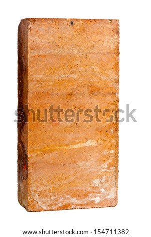 Old grungy clay brick over white background