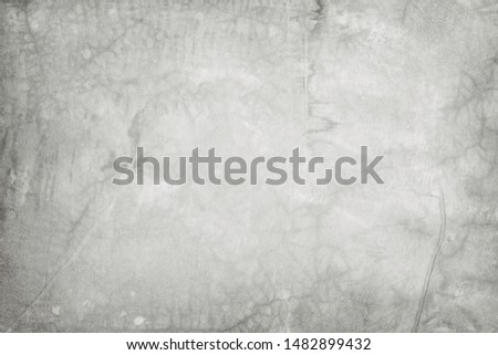 Old grungy texture, white grey color concrete cement wall with detail of rough stucco and crack for background and design art work. #1482899432