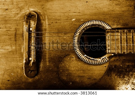old guitar - stock photo