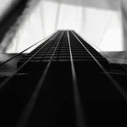 old guitar with monochrome nuance