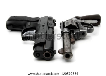 Old Gun and Modern Gun isolated on white background