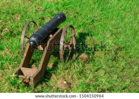 Old gun in the green grass. The weapon is an old cannon. Medieval historical installation. #1504150964