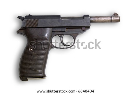 Old gun Walther Germany on white background