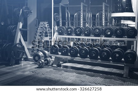 Old gym interior with equipment