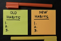 Old Habits and New Habits write on sticky notes isolated on office desk. Supported by an additional services isolated on wooden table.