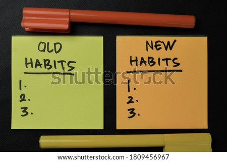Old Habits and New Habits write on sticky notes isolated on office desk. Supported by an additional services isolated on wooden table. Photo stock ©