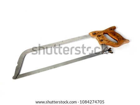 old hacksaw on metal plumbing tool on a white  background isolated