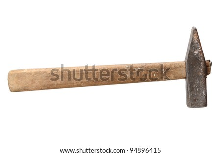 old hammer isolated on white with clipping path