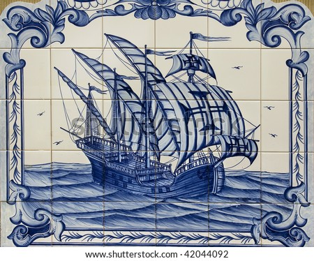 Old hand painted art tile (azulejo) representation of Portuguese discoveries.