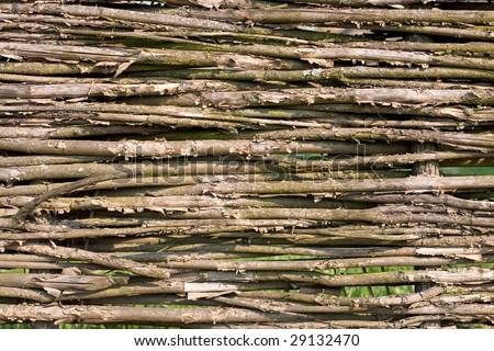 Old handmade wattled fence