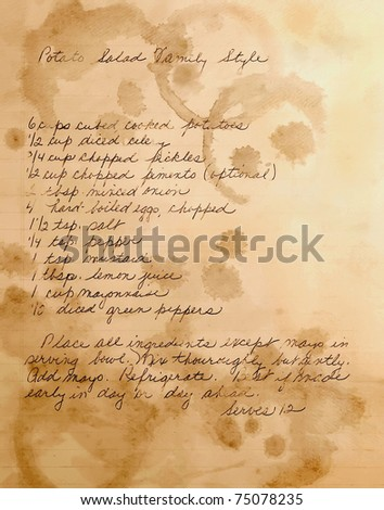 old handwritten potato salad recipe, layered with textures of stained paper