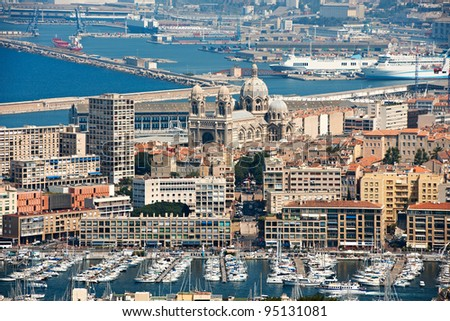 Old harbour of Marseille city and cargo harbour in the back