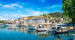 Old harbour on Limenas, capital and main port of Thassos island, Greece