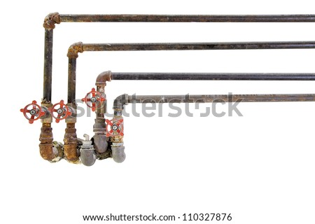 Old Heating Cooling Water Plumbing Pipes with Valves on White Background
