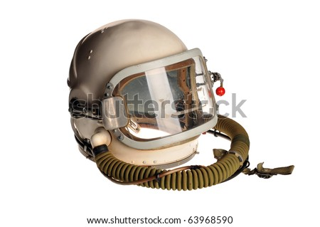 Old helmet of the cosmonaut on a white background - stock photo