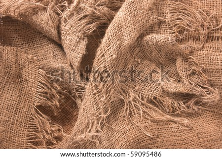 old hemp textile texture shot from above