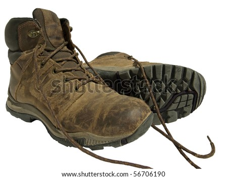 Old Hiking Boots on Isolated White Background