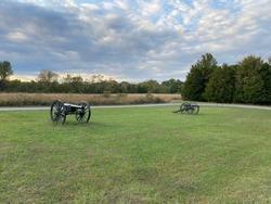 Old historic cannons on McFadden's farm city public civil war historic site and nature trail in Murfreesboro, TN