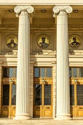 Old Historic Entrance To An Opera With Ionic Columns