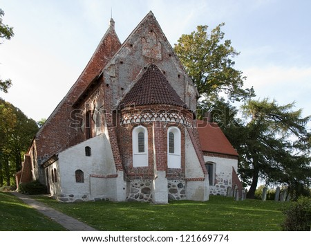 old historic field stone church -St.Pauli in Bobbin germany