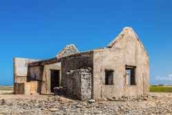 Old historic house as ruin at coast of Bonaire