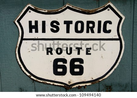 old historic route 66 sign on...