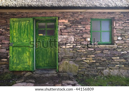 Old historic stone cottage door and window, County Kerry, Ireland