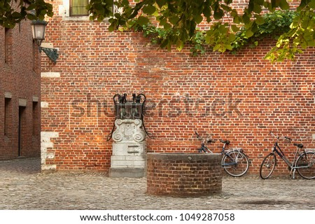 Old historic yard in Groot Begijnhof of Leuven. Is a well preserved beguinage and completely restored historical quarter containing a dozen streets in the south of downtown Leuven, Belgium. #1049287058