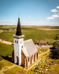old historical church at the village of Den Hoorn Texel Island Netherlands
