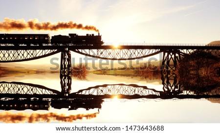 Old Historical Steam Engine Locomotive Train on Railroad Track Photo stock ©