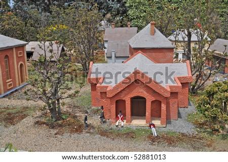 Old Hobart in miniature, Tasmania. Buildings in miniature - stock photo