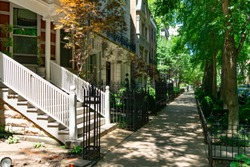 Old Homes and Sidewalk in the Gold Coast Neighborhood of Chicago